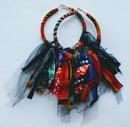 "Image 1 of ""Mini Whirlwind"" Ankara & Denim Earrings"