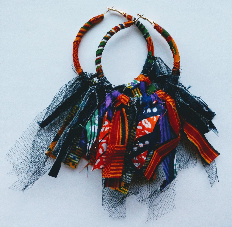 "Image of ""Mini Whirlwind"" Ankara & Denim Earrings"