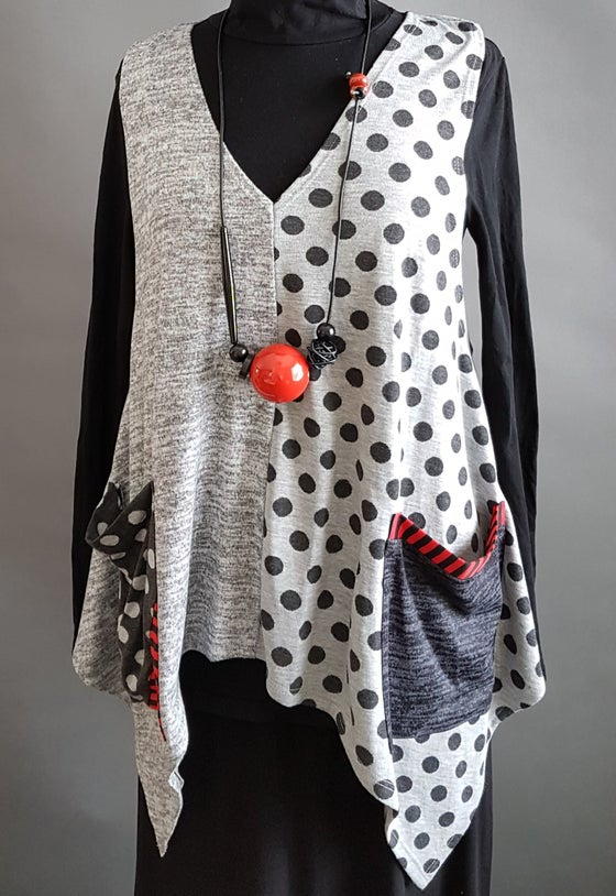 Image of Polka-dots top, light grey