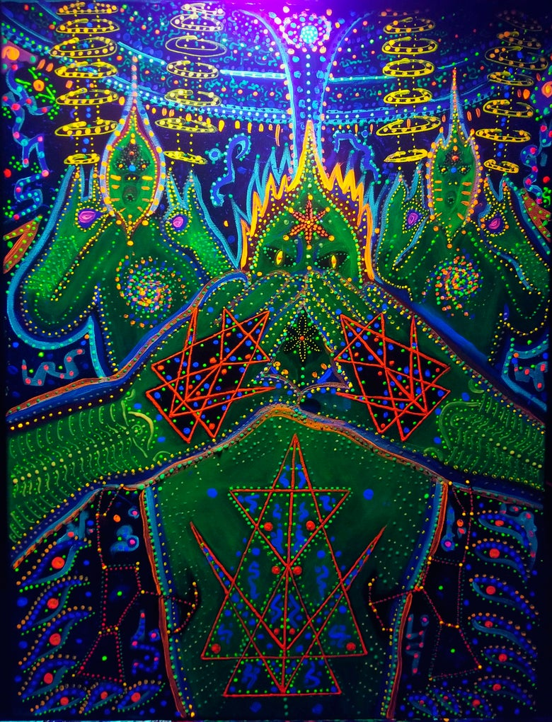 """Image of """"The Cosmic Antenna - Rigeludrian"""" 3D UV 24x18"""" painting acrylics on canvas by Humo -blacklight ON-"""