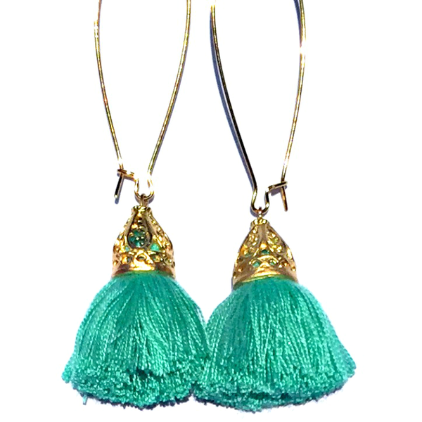 Image of Island Luxe - Gold Waikiki Tassel Earrings - Mint