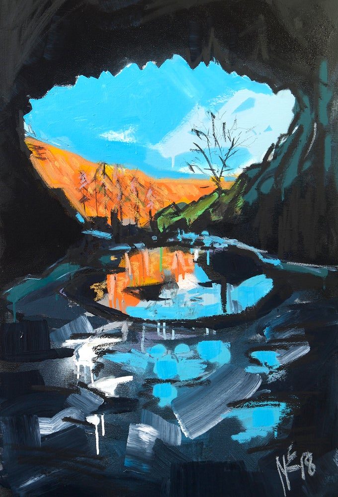 Image of Inside Rydal Cave (Original painting)