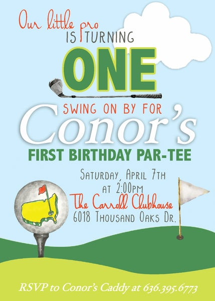 Image of Masters Golf Birthday Invitation