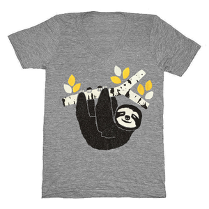 Image of Sloth V-Neck - Unisex XXS (Women's XS/SM)