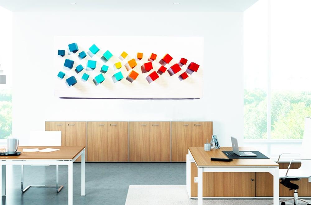 Image of 'MID MOD CUBES' | Wall Sculpture |  3-D Wall Sculpture | Modern Art | 3D Wood Art | Commercial Art