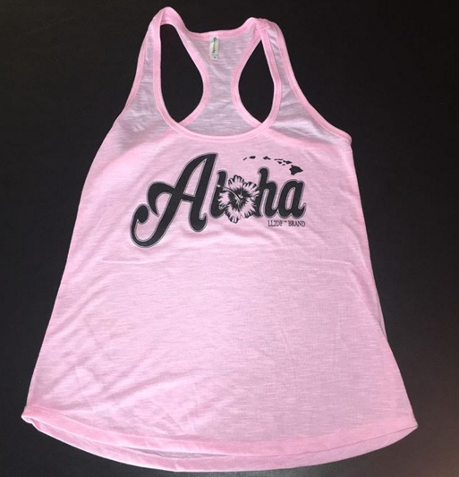 Image of LIGHT PINK ALOHA FLOWY TANK TOP