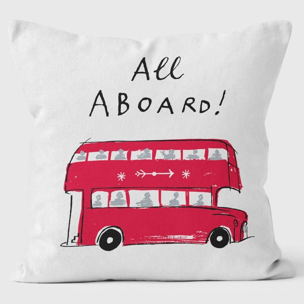 Alice Tait London Bus Cushion, White - Alice Tait Shop
