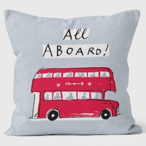 Alice Tait London Bus Cushion, Grey - Alice Tait Shop