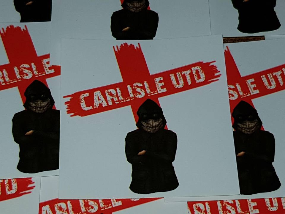 Image of Carlisle United, England, Football/Ultras/Casuals 7x7cm Stickers. Pack of 25.