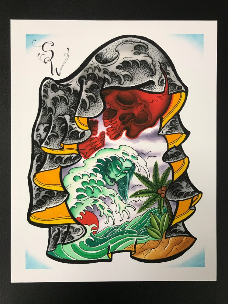 Image of 11x14 Tropical Skull Print by Shane Woodward