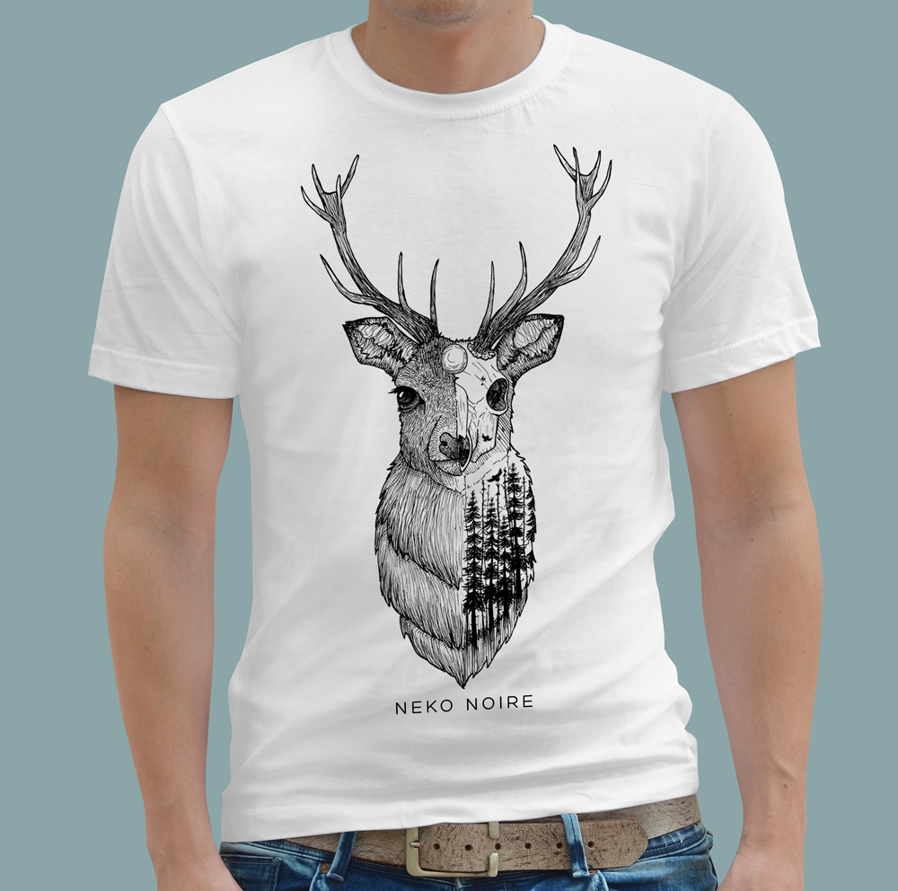 Image of Skeleton Stag // White Tee