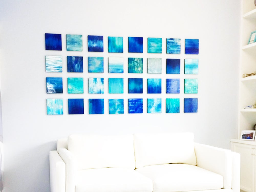 Image of 'POETICALLY BLUE' | Blue Wall Art | Wood Wall Art | Modern Wall Sculpture | Abstract Painting