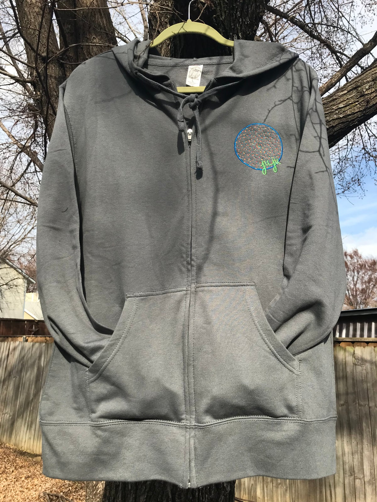 Image of Embroidered Zip Hoodies Black & Grey