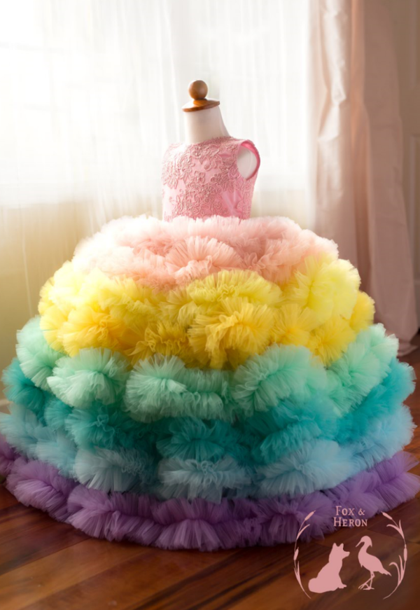 Image of Rainbow Gown, extra full with separate petticoat and extra ruffles