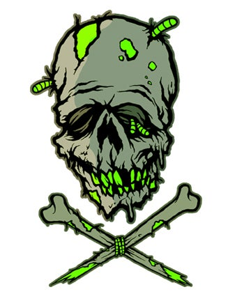 Image of ZOMBIE SKULL N BONES - STICKER