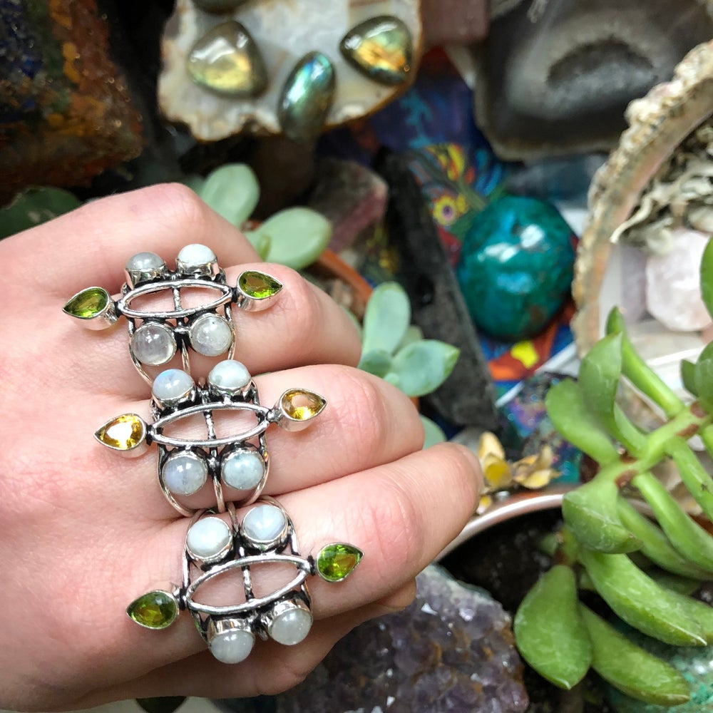 "Image of ""Light Blossom"" Rainbow Moonstone Sterling Silver Rings (sizes 8-9)"