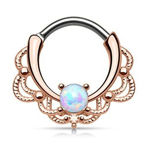 Image of Rose Gold Opal Stone Filigree Lacey Septum Clicker 1.2mm 16g