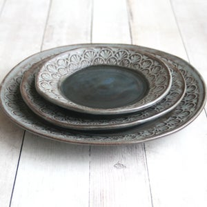Image of Modern Handmade Dinnerware Stoneware Three Piece Set Made in USA