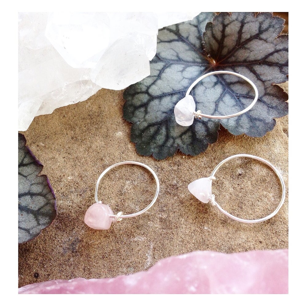 Image of Simple Rose Quartz Stone Ring - for love