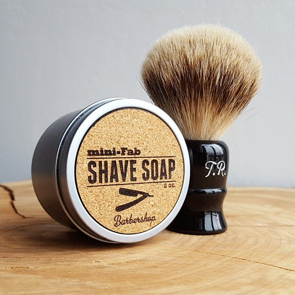 Image of Shaving Brush Kit with All Natural Vegan Shave Soap Handmade in Small Batches - Barbershop