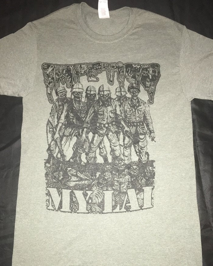 "Image of Impetigo "" My Lai "" Heather Military Green T shirt"