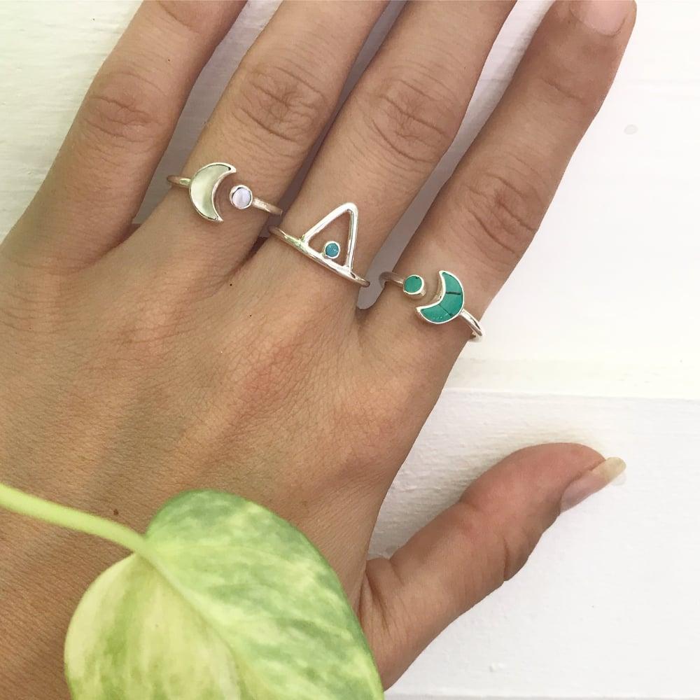 Image of Sterling silver gemstone moon wrap rings