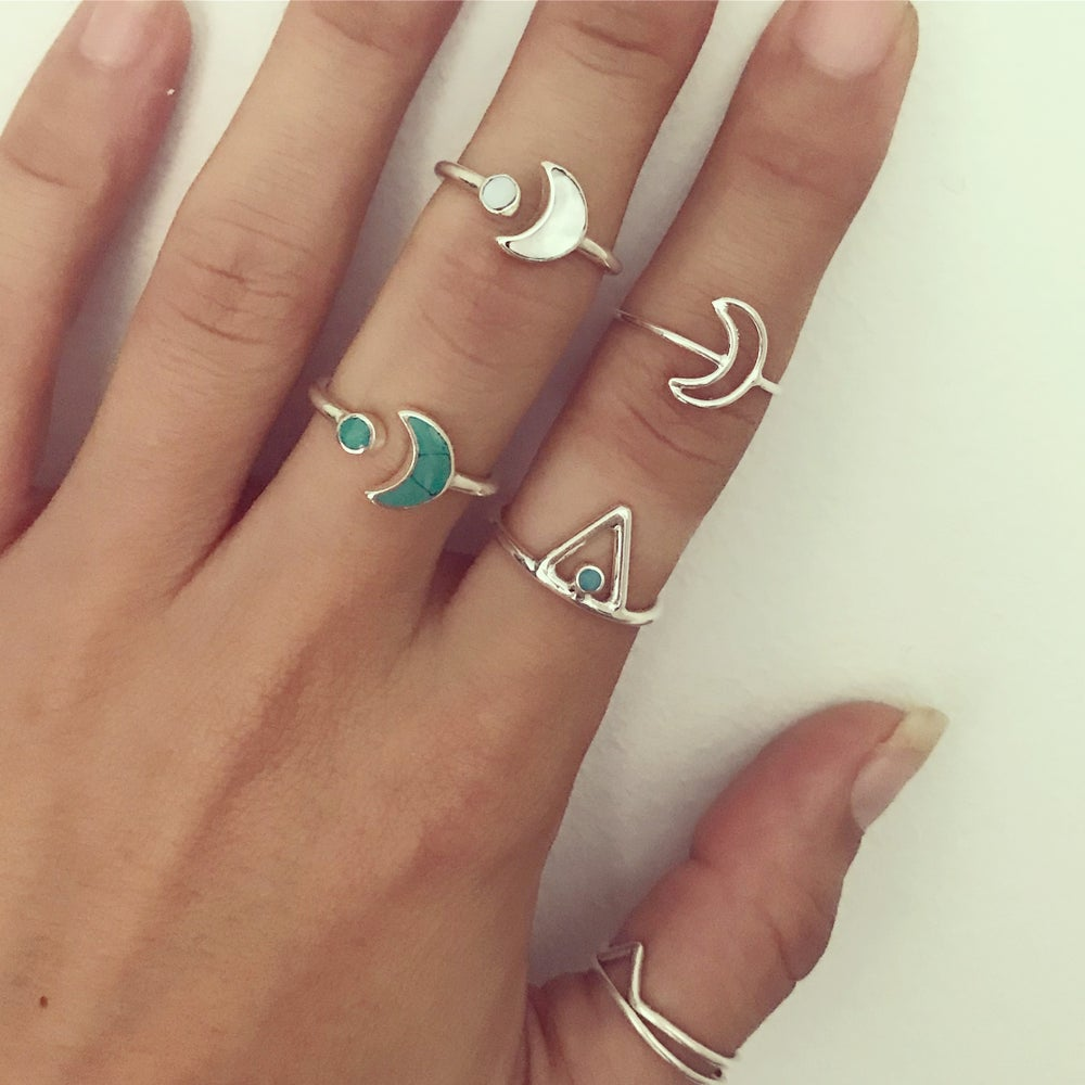 Image of Sterling silver gemstone moon wrap rings
