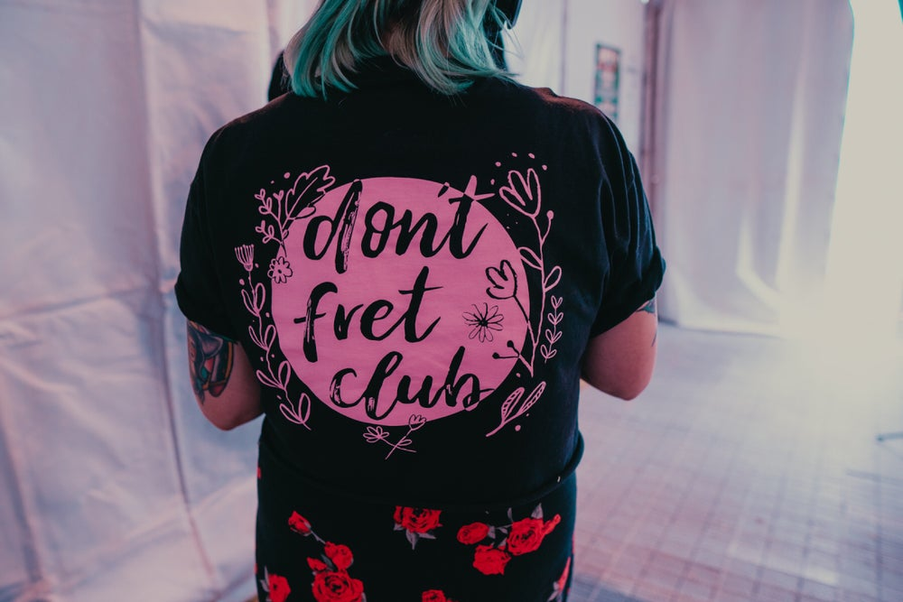Image of Don't Fret Club T-shirt (Pink logo on black)