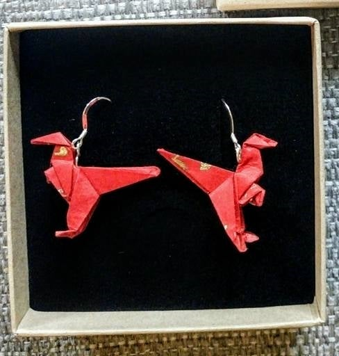 Image of Red Dinosaur Earrings