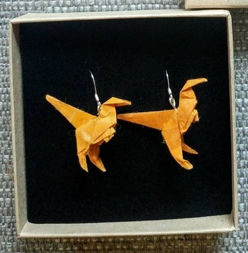 Image of Orange Dinosaue Earrings