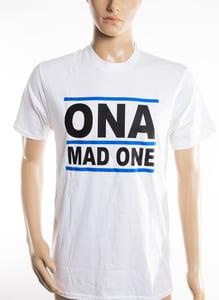 Image of The 'OnaMadOne' WHITE (Blue&Black) Tee