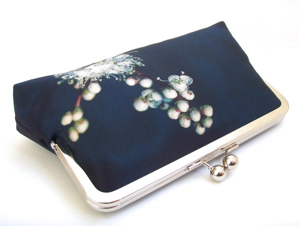 Meadowsweet white blossom clutch bag, flower purse, printed silk handbag - Red Ruby Rose