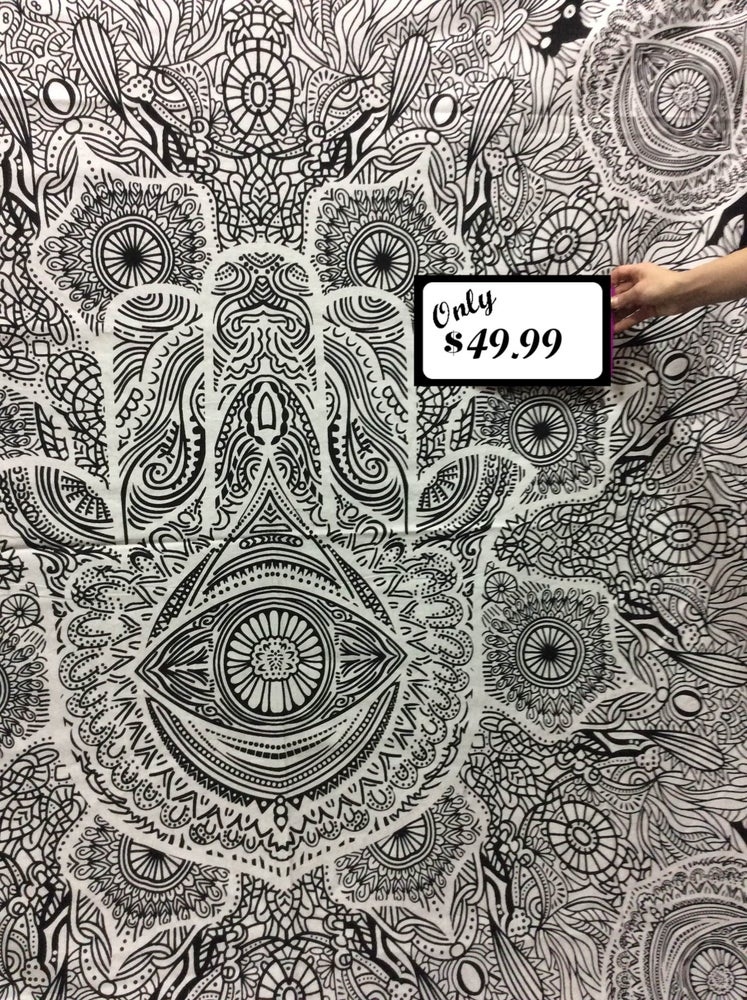 Image of Hamsa Black & White Tapestry