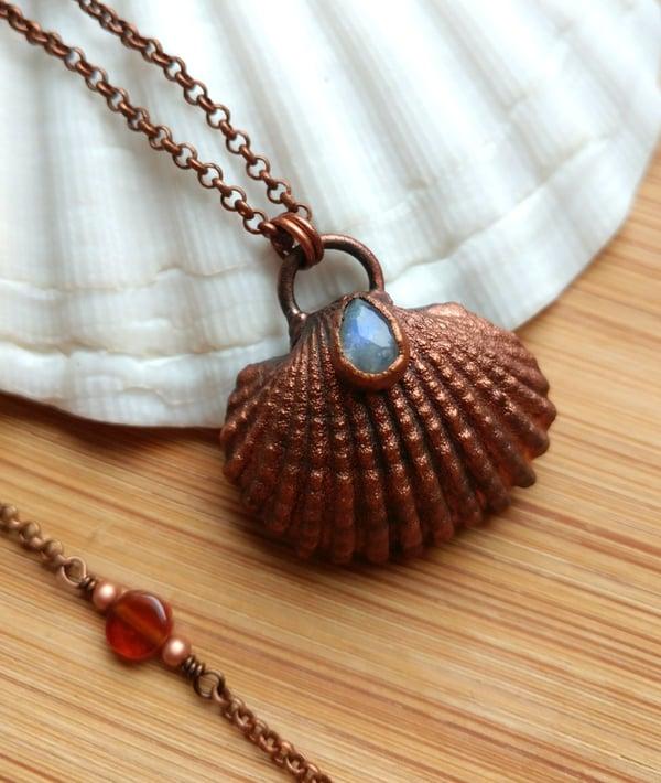 Image of Natural Seashell + Moonstone Pendant