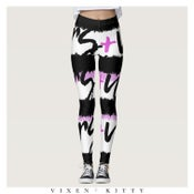Image of VixenKitty x Mecca Dawn Collab VERS+US Leggings (Multi Stripe / Text)