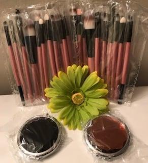 Image of Mini 15 pc Makeup Brush Set & Jewel Encrusted Mini Compact Mirror