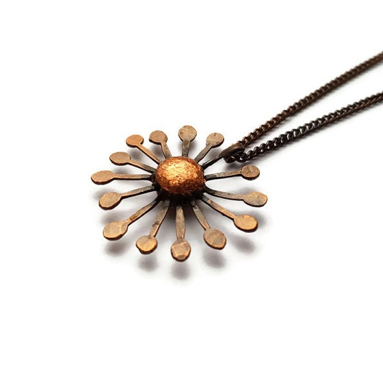 Image of Small Copper Dandelion Pendant