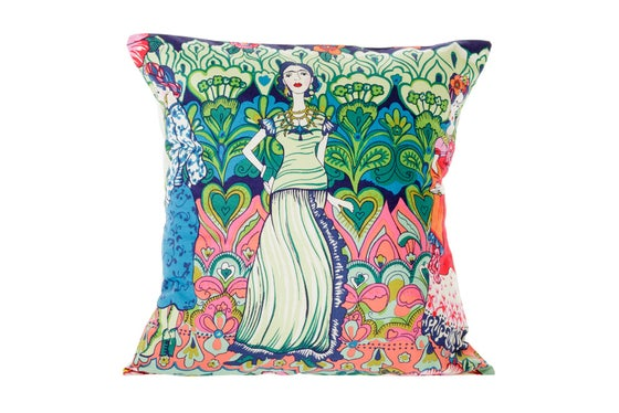 Image of La Catrina Frida Kahlo - cushion cover (blue)