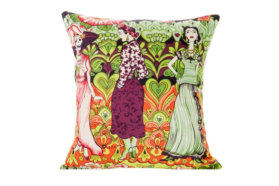 Image of La Catrina Frida Kahlo -cushion cover (purple)