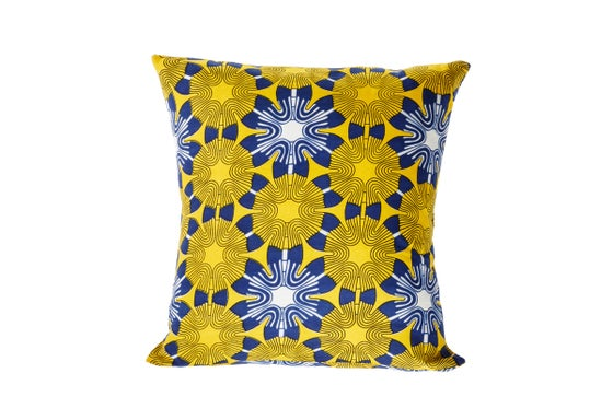 Image of African wax print yellow - cushion cover
