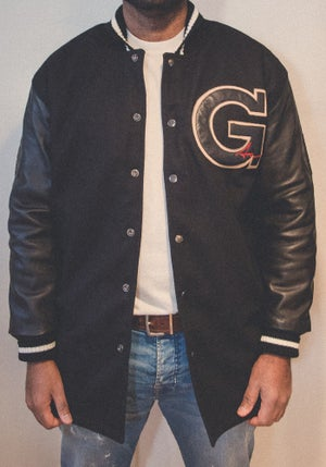 Image of Fishtail Varsity Jacket - Black