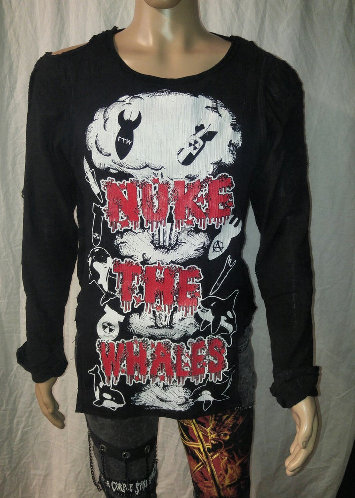 Image of Nuke The Whales black bondage shirt
