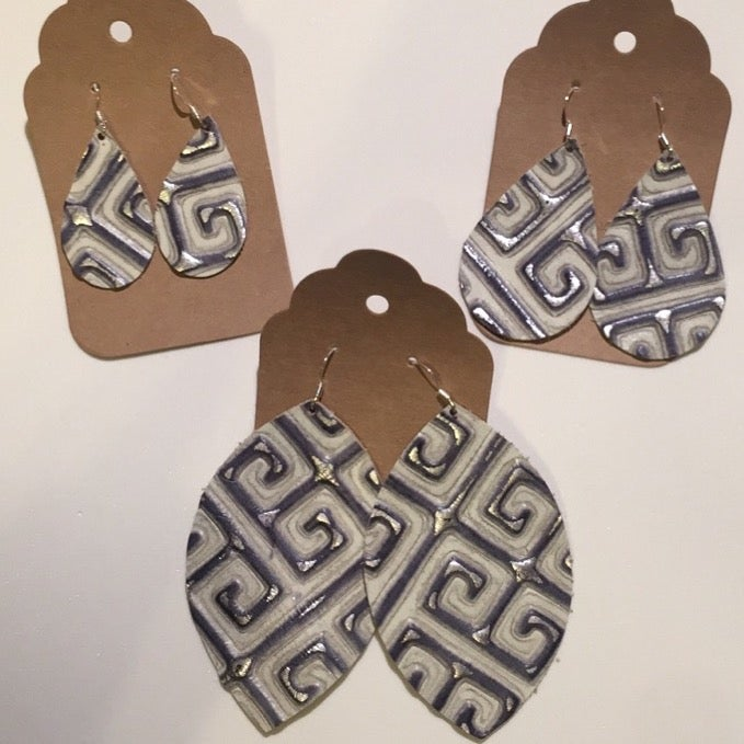 Image of Leather Earrings - Large Leaf Greek Key
