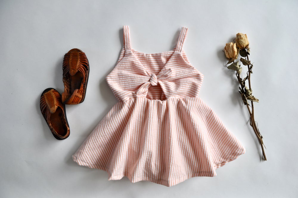 Image of Sunday Dress in Peach Seersucker