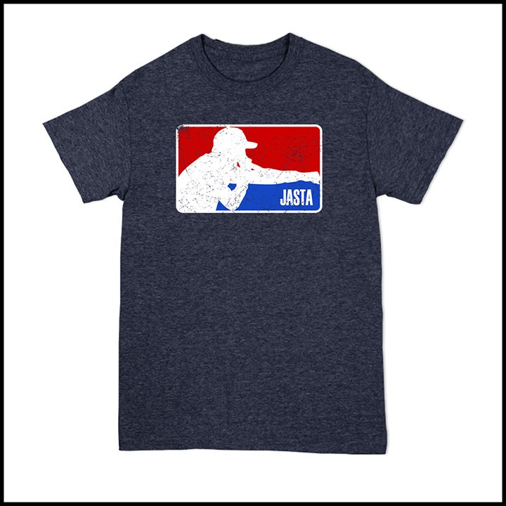 Image of JASTA HEATHER NAVY LOGO TEE