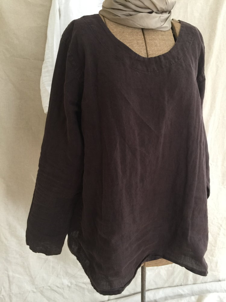 Image of linen long sleeve blouse- lighter weight