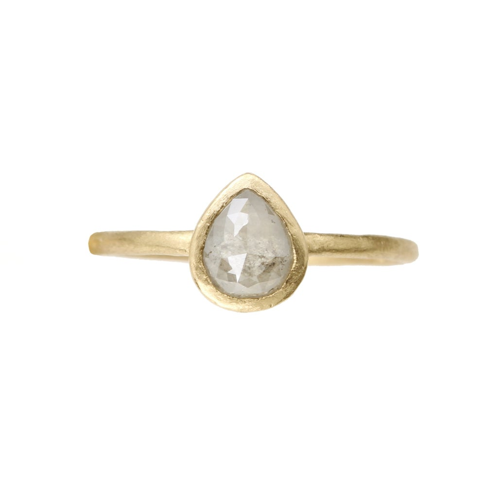 Image of Reserved. Rose cut pear diamond ring. 18k. Cortez