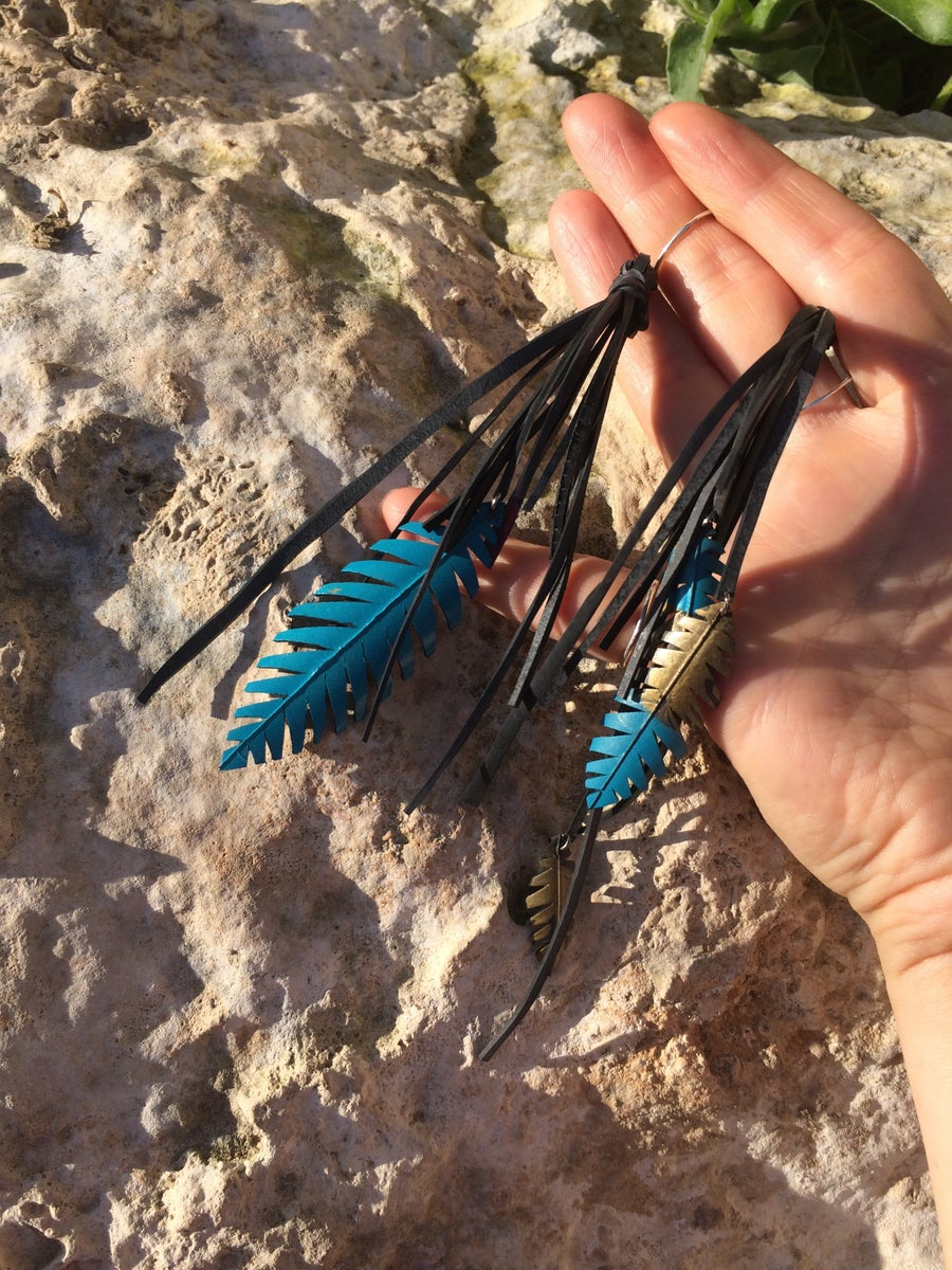 Image of Blue and Gold Tassel Feather Upcycled Innertube Earrings