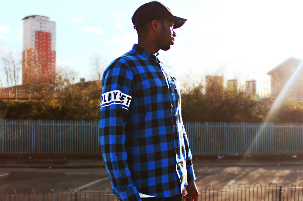 Image of Royal Blue and Black Flannel Shirt