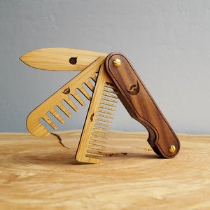 Image of Multi-tool Beard Kit with Wood Combs, Beard Balm, and Balm Knife - Grooming Set